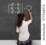 young beautiful schoolgirl in...   Shutterstock . vector #577318573