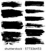 set of black paint  ink brush... | Shutterstock .eps vector #577336453