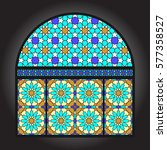 ancient stained glass... | Shutterstock .eps vector #577358527