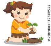 a cute girl plant sapling tree. | Shutterstock .eps vector #577359133