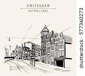 amsterdam  holland  netherlands ... | Shutterstock .eps vector #577360273
