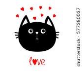 Black Cat Head Icon. Red Heart...