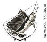 fishing tour emblem of marlin....   Shutterstock .eps vector #577380943