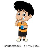 kid brushing teeth.vector and... | Shutterstock .eps vector #577426153