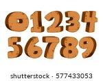 bold wooden textured font... | Shutterstock .eps vector #577433053