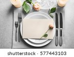 elegant table setting with... | Shutterstock . vector #577443103