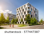 modern block of flats with blue ... | Shutterstock . vector #577447387