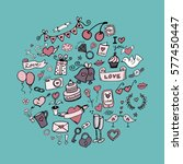 set of love doodles icons...