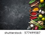 various herbs and spices on... | Shutterstock . vector #577499587