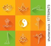 yoga flat icons with long... | Shutterstock .eps vector #577509673
