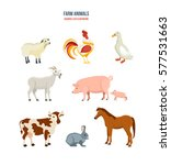 farm animals concept. set of... | Shutterstock .eps vector #577531663