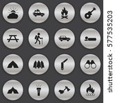 set of 16 editable camping... | Shutterstock .eps vector #577535203