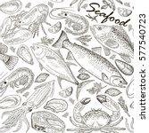 seafood set seamless pattern | Shutterstock .eps vector #577540723