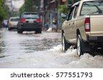 pickup truck on a flooded street | Shutterstock . vector #577551793
