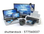 computer devices and office... | Shutterstock . vector #577560037