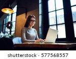 skilled female software... | Shutterstock . vector #577568557
