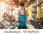 young fit woman working out in... | Shutterstock . vector #577569523