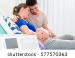 pregnant woman in delivery room ...   Shutterstock . vector #577570363