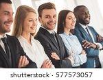 beautiful business team in... | Shutterstock . vector #577573057