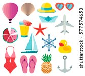 vector illustration of summer... | Shutterstock .eps vector #577574653