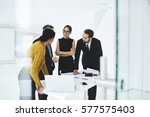 crew of skilled marketing... | Shutterstock . vector #577575403