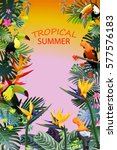 composition of tropical flowers ... | Shutterstock .eps vector #577576183