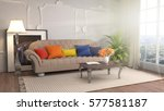interior with sofa. 3d... | Shutterstock . vector #577581187