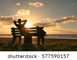sit back relax. young woman... | Shutterstock . vector #577590157