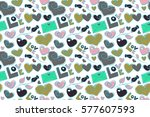 seamless pattern with stylized... | Shutterstock . vector #577607593