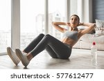attractive slim girl in... | Shutterstock . vector #577612477