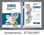 Flyer design. Business brochure template. Annual report cover. Booklet for education, advertisement, presentation, magazine page. a4 size vector illustration. Blue color | Shutterstock vector #577615597