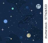 vector flat space seamless... | Shutterstock .eps vector #577626523