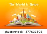 Travel to World. Road trip. Tourism. Open book with landmarks. Travelling vector illustration. The World is Yours! Modern flat design. #3 | Shutterstock vector #577631503