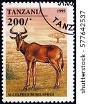 Small photo of CROATIA ZAGREB, 5 FEBRUARY 2017: a stamp printed in Tanzania shows Hartebeest, alcelaphus buselaphus, is an African antelope, circa 1995