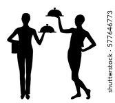 two waiter silhouette | Shutterstock .eps vector #577646773