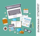 accounting concept. tax day.... | Shutterstock .eps vector #577659937
