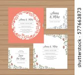 wedding invitation or greeting... | Shutterstock .eps vector #577663873