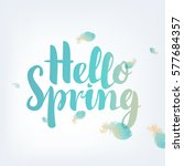 hello spring inscription on an... | Shutterstock .eps vector #577684357