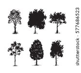 trees sketch set  hand drawing... | Shutterstock .eps vector #577686523