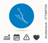 ski jumping icon. skis extreme... | Shutterstock .eps vector #577689703