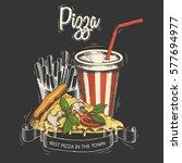 pizza menu. fast food design.... | Shutterstock .eps vector #577694977