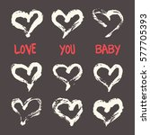 ink hearts card. hand painted... | Shutterstock .eps vector #577705393