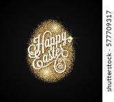 easter egg. gold background | Shutterstock .eps vector #577709317