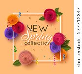 Spring banner with paper flowers for online shopping, advertising actions, magazines and websites. Vector illustration. | Shutterstock vector #577712347
