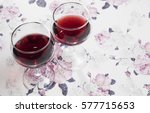 Ruby Wine On Flowery Backgroun...