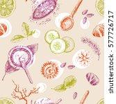 hand drawn vector seamless... | Shutterstock .eps vector #577726717