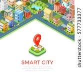 flat isometric residential... | Shutterstock .eps vector #577733377