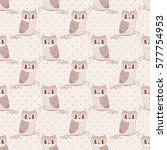 seamless pattern with cute hand ... | Shutterstock .eps vector #577754953