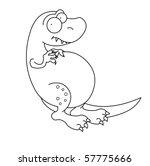 black and white t rex dinosaur | Shutterstock . vector #57775666