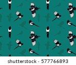 bird black billed magpie... | Shutterstock .eps vector #577766893